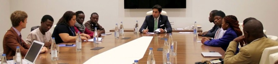 Members of the steering committee of the African Network of Youth Policy Experts meet the UN Secretary General Envoy on Youth Mr.  Ahmad Alhendawi